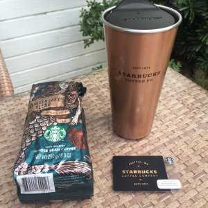 Starbucks Anniversary Blend Coffee Beans, New Special Limited Edition Starbucks Company Card, and Starbucks Tumbler